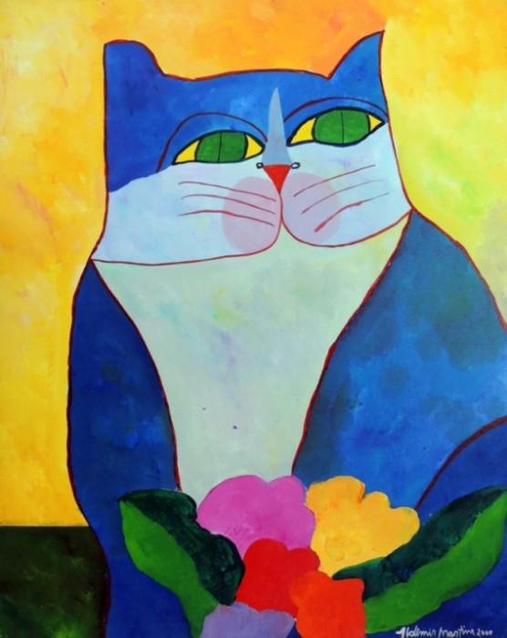 AM-004 - Aldemir Martins - Gato Azul com Flores - AST - 100 X 80 cm - 2000