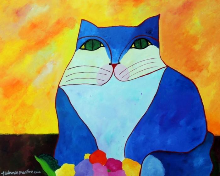 AM-005 - Aldemir Martins - Gato Azul com Flores - AST - 80 X 100 cm - 2000