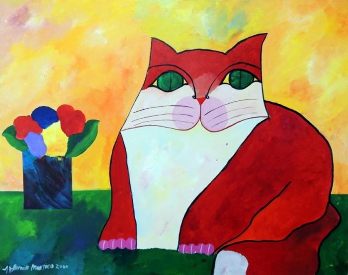 AM-008 - Aldemir Martins - Gato Vermelho e Vaso com Flores - AST - 80 X 100 cm - 2000