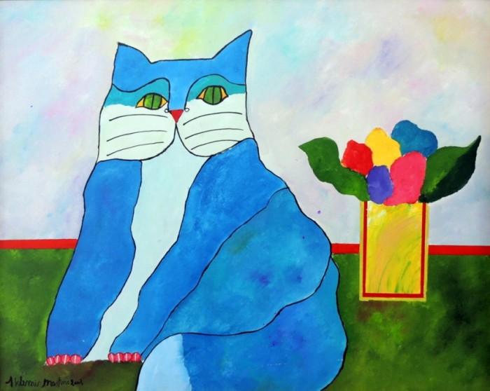 AM-021 - Aldemir Martins - Gato Azul com Vaso - AST - 80 X 100 cm - 2002