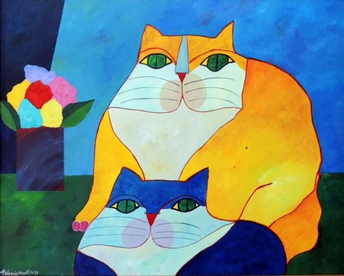 AM-023 - Aldemir Martins - Gato Amarelo e Gato Azul com Vaso - AST - 80 X 100 cm - 1999