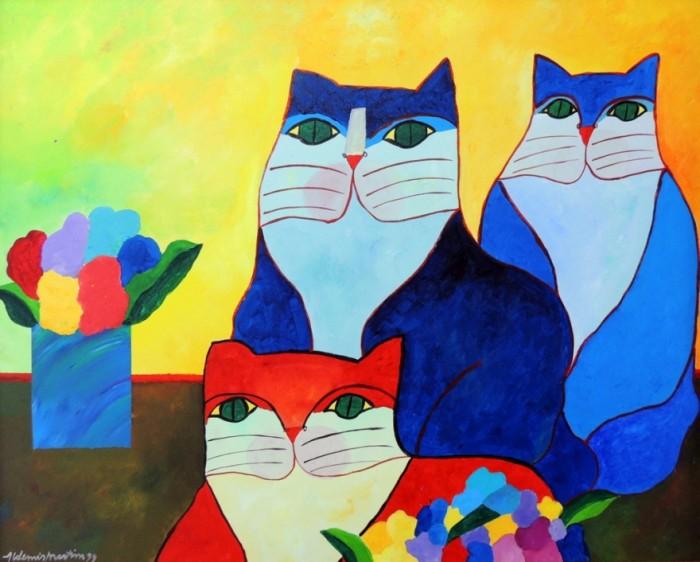 AM-025 - Aldemir Martins - Família de Gatos com Vaso e Flores - AST - 90 X 100 cm - 1999