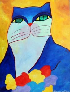 AM-034 - Aldemir Martins - Gato Azul com Flores - AST - 80 X 60 cm - 2002