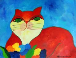 AM-043 - Aldemir Martins - Gato Vermelho com Flores - AST - 60 X 80 cm - 2002