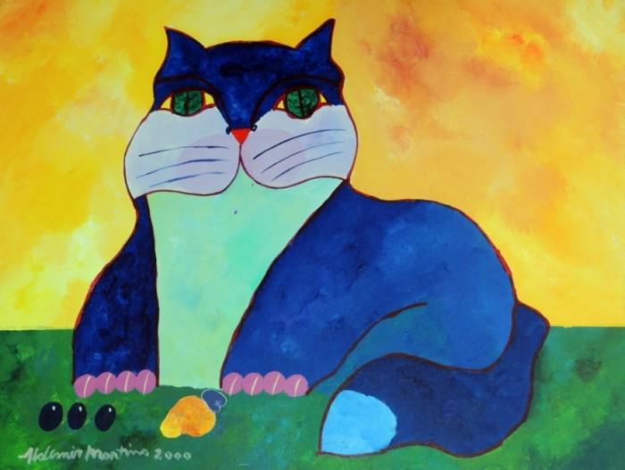 AM-048 - Aldemir Martins - Gato Azul com Frutas - AST - 60 X 80 cm - 2000