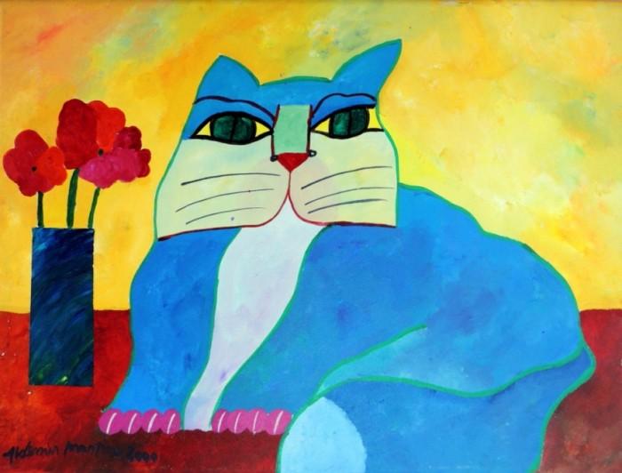 AM-049 - Aldemir Martins - Gato Azul com Vaso - AST - 60 X 80 cm - 2000