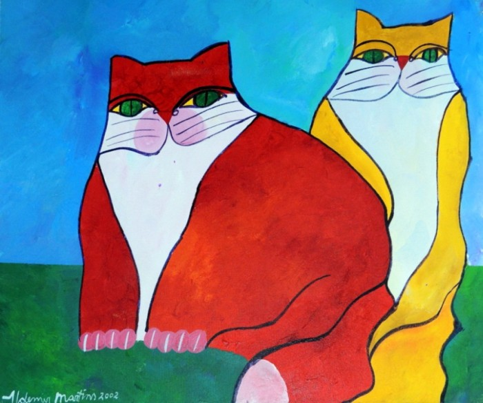 AM-065 - Aldemir Martins - Gato Vermelho e Gato Amarelo - AST - 46 X 55 cm - 2002