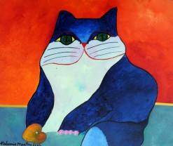 AM-066 - Aldemir Martins - Gato Azul com Fruta - AST - 46 X 55 cm - 2002