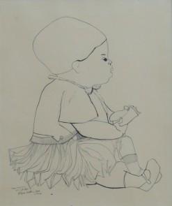 AM-073 - Aldemir Martins - Mariana - Nanquim Sobre Papel - 38 X 33 cm - 1960