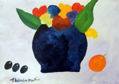 AM-080 - Aldemir Martins - Vaso Roxo e Frutas - ASC - 29,5 X 42 cm