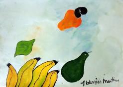 AM-084 - Aldemir Martins - Natureza Morta Bananas Abacate e Caju - ASC - 29,5 X 42 cm