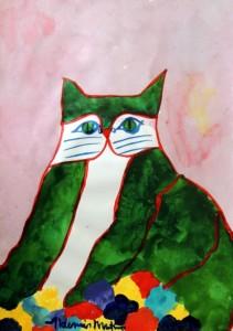 AM-097 - Aldemir Martins - Gato Verde com Flores - ASC - 42 X 29,5 cm