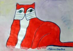AM-098 - Aldemir Martins - Gato Vermelho - ASC - 29,5 X 42 cm