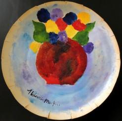 AM-139 - Aldemir Martins - Vaso Vermelho com Flores - ASC - 38 cm de Diâmetro