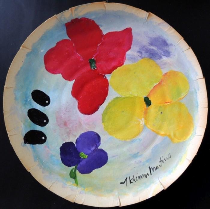 AM-143 - Aldemir Martins - Natureza Morta - Flores e Frutas - ASC - 38 cm de Diâmetro