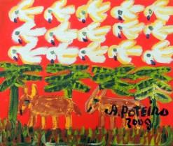 AP-001 - Antônio Poteiro - Burricos e Pássaros - OST - 25 X 30 cm