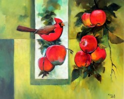FB-014 - Franco Belli - Pássaro e Maçãs - OST - 83 X 103 cm