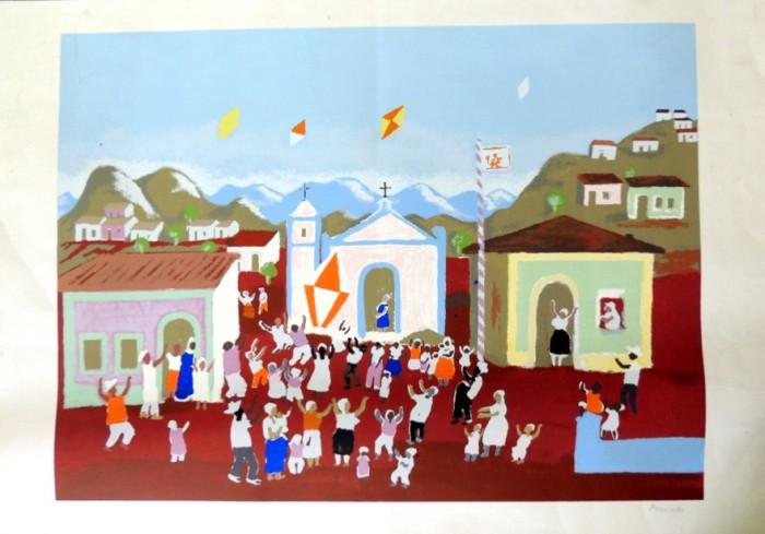 FP-001 - Fúlvio Pennacchi - Festa de São João - Gravura - 125-130 - 70 X 100 cm