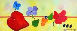 JR-AM-057 - Aldemir Martins - Natureza Morta com Flores e Frutas - AST - 35 X 85 cm - 2001