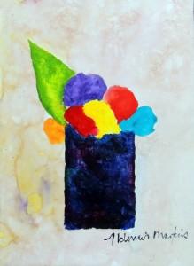 JR-AM-074 - Aldemir Martins - Vaso com Flores - ASC - 44 X 32 cm