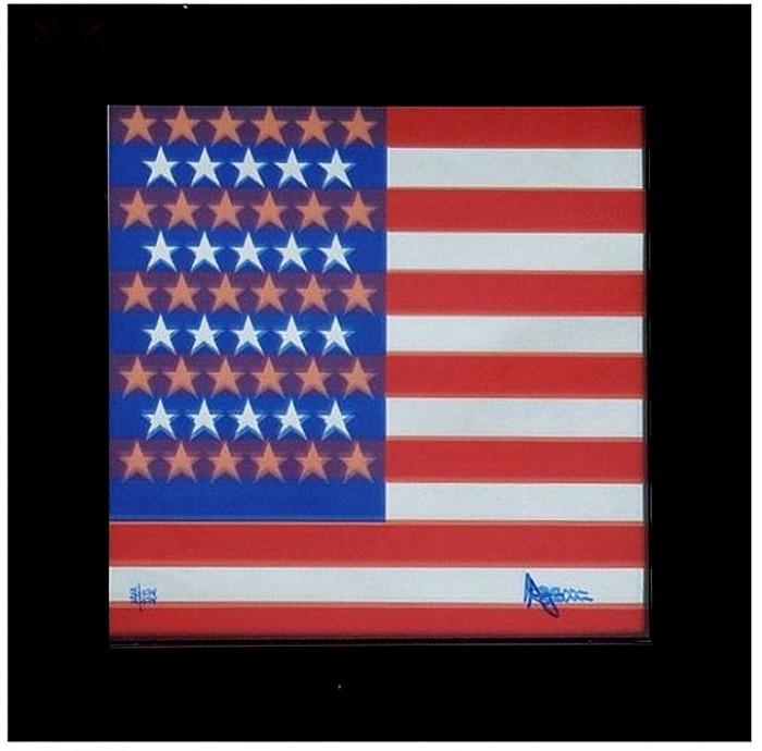 YA-001 - Yaacov Agam - USA Flag - Serigrafia em Espelho - 22/75 - 24 x 22 cm
