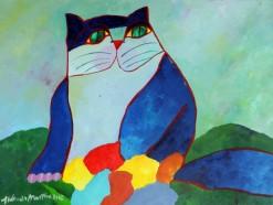AM-047 - Aldemir Martins - Gato Azul com Flores - AST - 60 X 80 cm - 2002