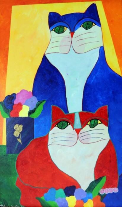 AM-070 - Aldemir Martins - Gato Azul e Gato Vermelho com Vaso e Flores - AST - 100 X 60 cm - 1995