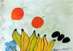 AM-083 - Aldemir Martins - Natureza Morta Bananas e Laranjas - ASC - 29,5 X 42 cm