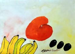 AM-085 - Aldemir Martins - Natureza Morta Bananas e Manga - ASC - 29,5 X 42 cm