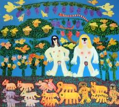 AP-045 - Antônio Poteiro - Adão e Eva no Paraíso - OST - 90 X 100 cm - 2006