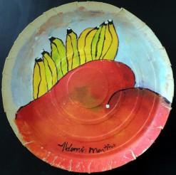 JR-AM-149 - Aldemir Martins - Natureza Morta Manga e Bananas - ASC - 38 cm de Diâmetro
