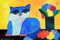 AM-159 - Aldemir Martins - Gato Azul com Vaso e Flores - AST - 40 X 60 cm - 2003